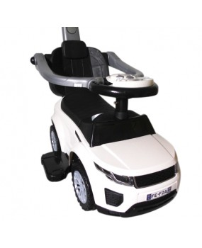 Detské odrážadlo auto J4 s vodiacou tyčou 3v1 biele