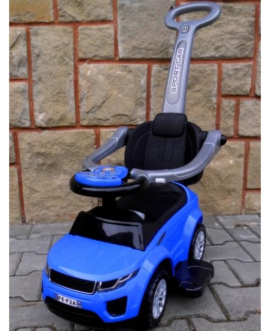 Detské odrážadlo auto J4 s vodiacou tyčou 3v1 modré