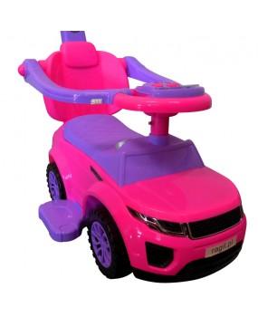 Detské odrážadlo auto J4 s vodiacou tyčou 3v1 ružové