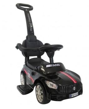 Detské odrážadlo auto J7 s vodiacou tyčou 3v1 čierne