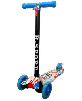 Detská kolobežka R-Sport H2 modro-biela s LED kolieskami