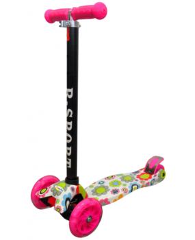 Detská kolobežka R-Sport H2 ružová s kvietkami a s LED kolieskami