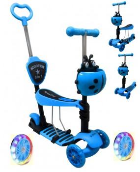 Detská kolobežka JR modrá 5v1 s LED kolieskami