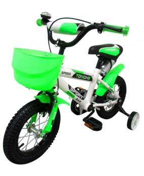 """Detský bicykel s košíkom P4 12"""" kolesá zelený"""