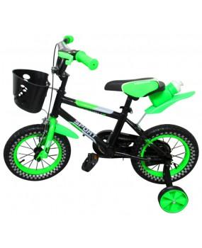 """Detský bicykel s košíkom P6 12"""" kolesá zelený"""