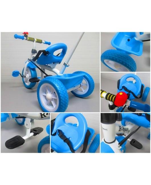 Detská trojkolka s vodiacou tyčou T5 modrá